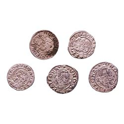 Lot of (5) 1540-1590 KB Hungary Ferdinand I - Madonna & Child Silver Denar Coins