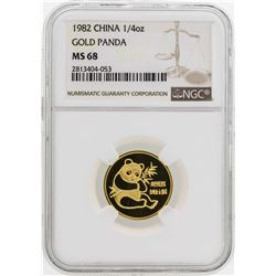 1982 China 1/4 oz. Gold Panda Coin NGC MS68