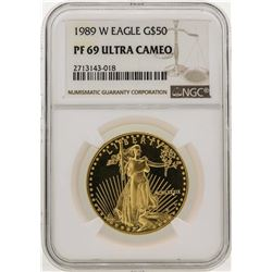 1989-W $50 American Gold Eagle Coin NGC PF69 Ultra Cameo