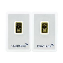 Set of (2) 5 Gram Credit Suisse .9999 Fine Gold Ingot Cards