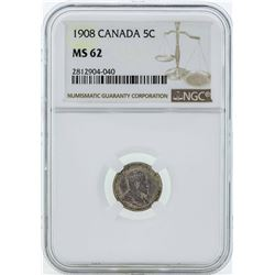 1908 Canada 5 Cents Coin NGC MS62