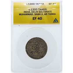 c.1300 India Tonka Delhi Sultanate Coin ANACS EF40