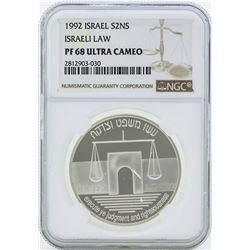 1992 Israel 2 Sheqalim Silver Proof Coin NGC PF68 Ultra Cameo