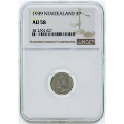 1939 New Zealand 3 Pence Silver Coin NGC AU58