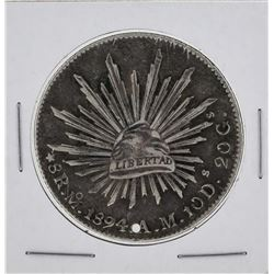 1894oM Mexico 8 Reales Silver Coin Small Hole Punch