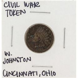 1863 Civil War Token W. Johnston Cincinnati Ohio