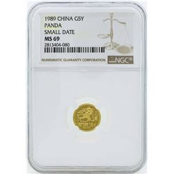 1989 Small Date China 5 Yuan Panda Gold Coin NGC MS69