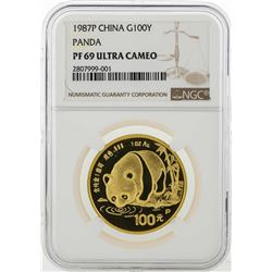 1987P China 100 Yuan Panda Gold Coin NGC PF69 Ultra Cameo