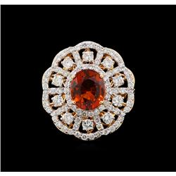 18KT Rose Gold 6.19ct Spessartite Garnet and Diamond Ring