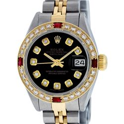 Rolex Ladies Two Tone Ruby and Diamond Datejust Wristwatch