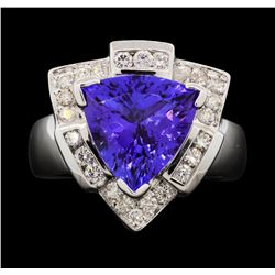 14KT White Gold 5.59ct Tanzanite and Diamond Ring