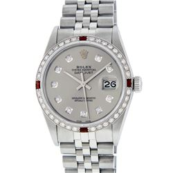 Rolex Stainless Steel 1.00ctw Ruby and Diamond DateJust Mens Wristwatch