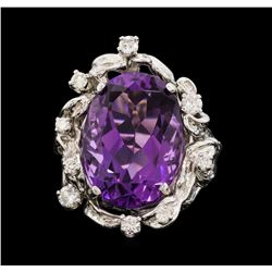 14KT White Gold 12.50ct Amethyst and Diamond Ring