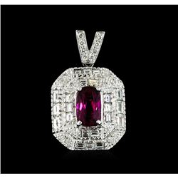 18KT White Gold 2.10ct Rubellite and Diamond Pendant