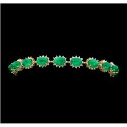 14KT Yellow Gold 20.25ctw Emerald and Diamond Bracelet