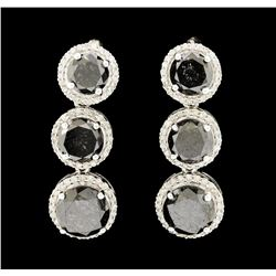 14KT White Gold 12.65ctw Black Diamond Earrings