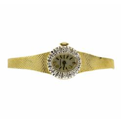 Ladies Vintage Longines 14K Vintage Wristwatch with Diamond Bezel
