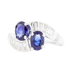 Platinum 1.70ctw Blue Sapphire and Diamond Ring