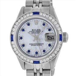 Rolex Stainless Steel Sapphire and Diamond Datejust Ladies Wristwatch