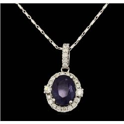 14K White Gold 4.07 ct. Tanzanite and Diamond Pendant with Chain