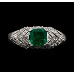 18KT White Gold 1.20ct Emerald and Diamond Ring