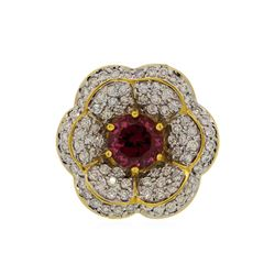18KT Yellow Gold 2.55ct Red Spinel and Diamond Ring