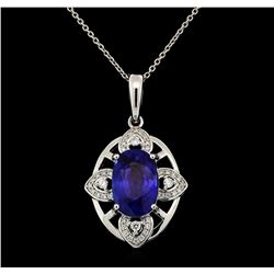 Platinum 5.40ct Sapphire and Diamond Pendant with Chain