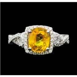 Platinum 2.37ct Yellow Sapphire and Diamond Ring