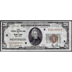 1929 $20 Federal Reserve Bank of New York National Currency Note
