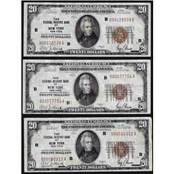 Lot of (3) 1929 $20 Federal Reserve Bank of New York National Currency Notes