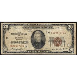 1929 $20 Federal Reserve Bank Note St. Louis