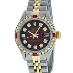 Rolex Ladies Two Tone 14KT Yellow Gold Ruby and Diamond Datejust Wristwatch