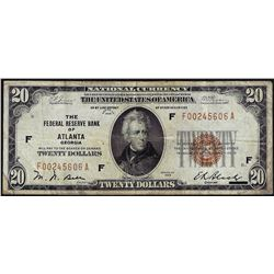 1929 $20 Federal Reserve Bank of Atlanta National Currency Note