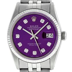 Mens Rolex 36mm Stainless Steel Purple Diamond Datejust Wristwatch