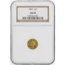 1855 $1 Indian Princess Head Gold Dollar Coin NGC AU58