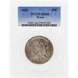 1935 Texas Commemorative Half Dollar Coin PCGS MS66