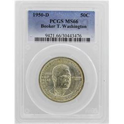 1950-D Booker T Washington Centennial Commemorative Half Dollar Coin PCGS MS66