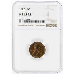 1923 Lincoln Wheat Penny Coin NGC MS62RB