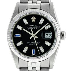 Mens Rolex 36mm Stainless Steel Black Diamond & Sapphire Datejust Wristwatch