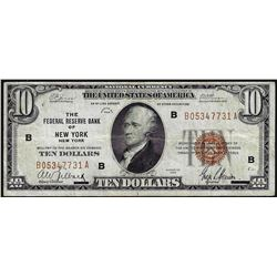 1929 $10 Federal Reserve Bank of New York National Currency Note