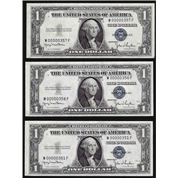 Lot of (3) 1935D $1 Silver Certificate Notes with LOW SERIAL Numbers