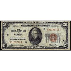 1929 $20 Federal Reserve Bank of Richmond National Currency Note