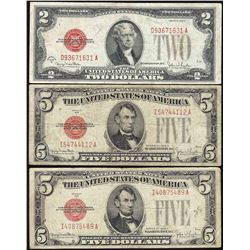 Lot of 1928 $2 & (2) 1928 $5 Legal Tender Notes