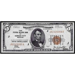 1929 $5 Federal Reserve Bank of Kansas City National Currency Note