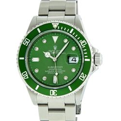 Rolex Stainless Steel Green Submariner Mens Wristwatch