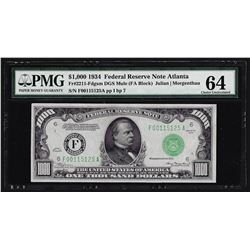 1934 $1,000 Mule Federal Reserve Note Atlanta PMG Choice Uncirculated 64