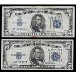 Lot of (2) 1934A $5 Silver Certificate Notes