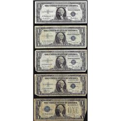 Lot of (5) Silver Certificate Notes