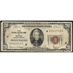 1929 $20 Federal Reserve Bank Note Boston
