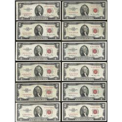 Lot of (12) 1953 $2 Legal Tender Notes